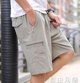爸爸短褲中年休閒五分褲男士夏季純棉寬鬆工裝中褲外穿老年人褲頭 自由角落