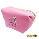 粉色款【日本進口】史努比 Snoopy 帆布 化妝包 收納包 PEANUTS - 013410