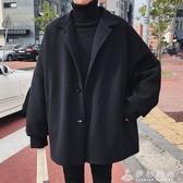 ins毛呢外套男短款韓版英倫風大衣風衣學生日系潮流寬鬆冬季加厚 伊衫風尚