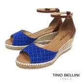 Tino Bellini 巴西進口幾何壓紋雙色麻編楔型魚口涼鞋 _ 藍 A83058 歐洲進口款
