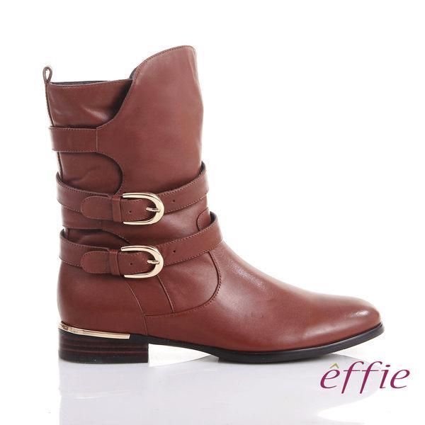 effie 保暖靴 真皮弧線靴口飾釦奈米中長靴 茶