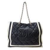 CHANEL 香奈兒 深藍牛皮雙鍊肩背包 Large Shopping Tote Bag【BRAND OFF】