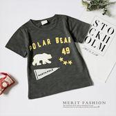 純棉 北極熊童趣字母短袖上衣 竹節棉 舒適 百搭 休閒 熊 字母 童趣 韓版 男童 哎北比童裝