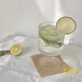冰淇淋杯條紋玻璃杯果汁飲料杯酸奶布丁杯雪糕杯子【輕奢時代】