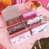 折疊眼鏡盒太陽墨鏡盒韓國可愛學生男女便攜簡約小清新復古優雅   泡芙女孩輕時尚