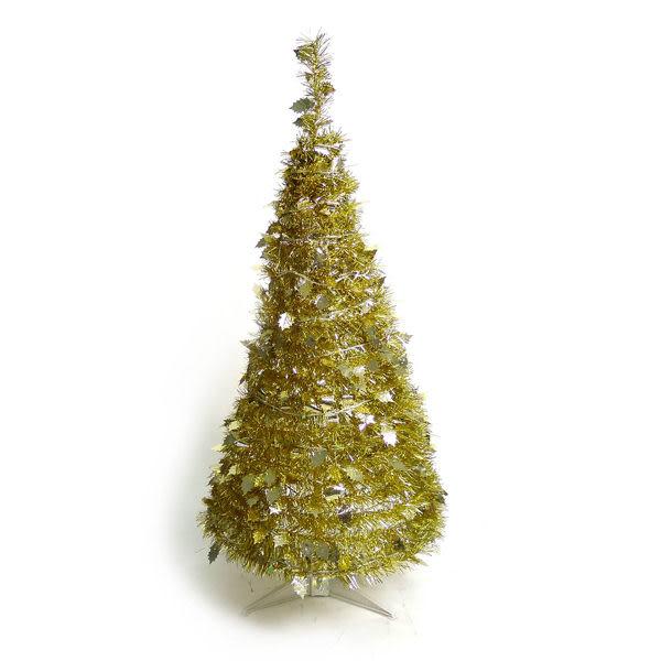 4尺/4呎(120cm) 創意彈簧摺疊聖誕樹 (金色系)(本島免運費)