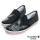 PLAYBOY 隨性樂活 條紋兔頭編織懶人鞋-黑(男鞋)