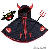 萬圣節兒童服裝男女童牛角披風演出服飾惡魔斗篷親子成人南瓜衣服 晶彩