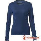 【wildland 荒野】女 Highest彈性圓領保暖衣『深藍』H2663 戶外 休閒 運動 冬季 保暖 禦寒 內著