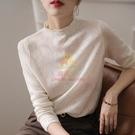 鏤空針織上衣 法式小眾針織衫女新款6個羊毛薄款鏤空拼接套頭毛衣長袖打底衫【樂淘淘】
