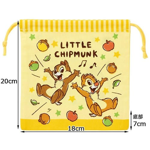 DISNEY 迪士尼奇奇蒂蒂手繪圖案棉質附底縮口袋(星星)★funbox★SKATER_AT41399