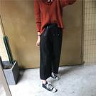 +C3458#韓版百搭顯瘦拼接休閒PU洗水皮褲闊腿褲  &小咪的店&