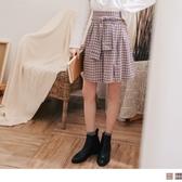 《CA2088》高含棉.文藝暖色格紋綁帶造型後腰鬆緊A字圓裙 OrangeBear