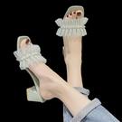 高跟拖鞋 小香風拖鞋女夏外穿ins潮2021新款氣質涼拖仙女中跟時尚高跟涼鞋