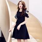 小禮服主持高級質感平時可穿短款小晚禮服裙黑色宴會氣質氣場女王連身裙 萊俐亞