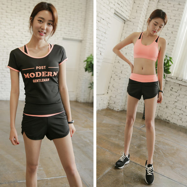 韓國新款健身服套裝女夏季顯瘦背心瑜伽服健身房運動跑步服件套 - lxy003