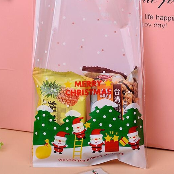 【BlueCat】聖誕節四老人爬樓梯放星星餅乾袋 平口袋 糖果袋  食品袋(1入) 大號