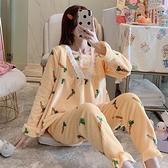 睡衣 睡衣女冬韓版甜美可愛公主風花邊加厚法蘭絨保暖家居服套裝【快速出貨八折搶購】