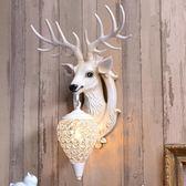 壁燈  招財鹿角壁燈北歐式客廳電視背景牆床頭個性創意鹿頭牆壁燈裝飾品·夏茉生活igo
