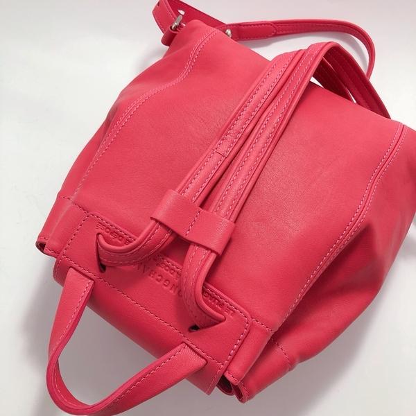 法製LONGCHAMP 小羊皮 XS 粉紅色 束口後背包~法製