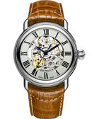 AEROWATCH 精湛羅馬鏤空機械腕錶-銀x咖啡 A60900AA14