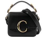【CHLOE】Mini C BAG牛皮拚麂皮手提/斜背兩用包(黑色) CHC19US193A37001