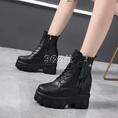 內增高馬丁靴女新款百搭小個子厚底帥氣英倫風顯瘦小短靴 雙十一全館免運