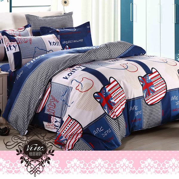 《英倫凱蒂-藍》百貨專櫃精品薄床包組 100%MIT台製舒柔棉-單人(3.5*6.2尺)