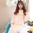 【限時下殺79折】法蘭絨荷葉邊設計長袖睡裙秋冬保暖長版性感甜美可愛連身睡衣