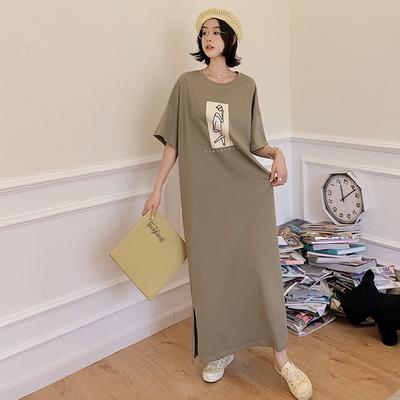 長洋裝棉質大尺碼寬鬆胖MM連身裙6131# 夏新款超長款簡潔到腳踝開叉短袖連身裙JYF5依佳衣