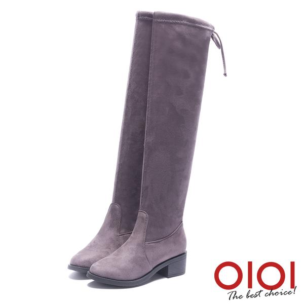 及膝長靴 纖腿美人後綁帶及膝長靴(灰) *0101shoes【18-1772gy】【現貨】