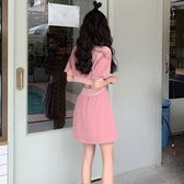 露揹洋裝 泡泡短袖網紅泫雅鏤空心機顯瘦性感露揹粉色衛衣洋裝子港風女夏 果果生活館