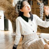 VK精品服飾 韓系翻領百搭條紋袖針織衫長袖上衣