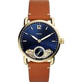 FOSSIL TWIST系列雙機芯小秒針手錶-藍x金框/42mm ME1167
