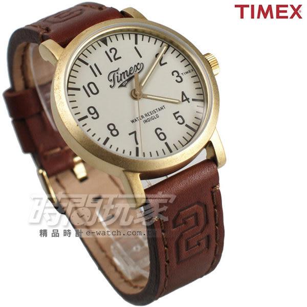 TIMEX 天美時 夜光顯示 美式風格 皮帶壓紋腕錶 咖啡x霧金色 男錶 皮革錶帶 TXT2P96700