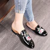 夏季新款包頭半拖鞋 牡丹花刺繡休閒鞋皮鞋《印象精品》q102