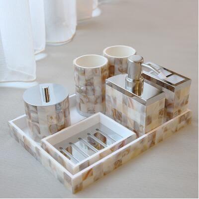 家居樣板間裝飾品擺件別墅衛生間擺設漱口杯托盤衛浴七套裝