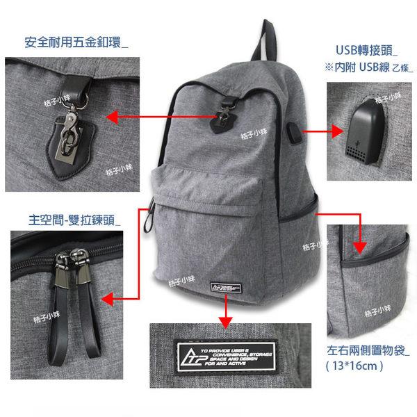 韓國品牌 THE TOPPU 後背包 C5500925 休閒後背包 背包 筆電包 安全釦 外接USB接頭 男包 桔子小妹
