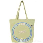 SEE BY CHLOE Live 刺繡字母棉質帆布束口購物包(褐綠色) 1840714-08