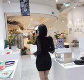 季夜店性感氣質女裝長袖深V領低胸蕾絲拼接鏤空包臀洋裝 【販衣小築】
