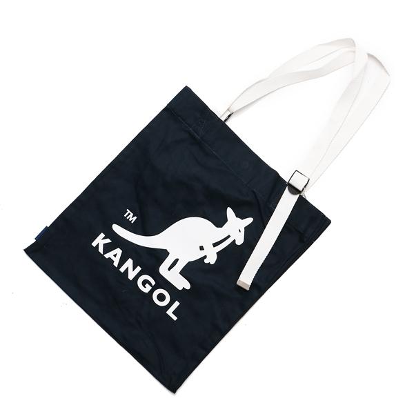 KANGOL 托特包 手提包 側背 帆布 深藍 白LOGO 可調式 (布魯克林) 6025300880