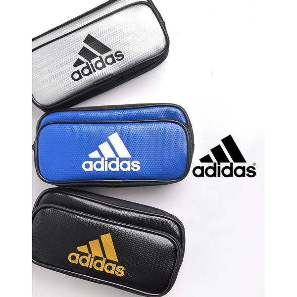 愛迪達 adidas 雙層筆袋 黑 深藍 鉛筆袋 收納袋 日本國內限定 該該貝比日本精品 ☆