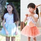 短袖洋裝 公主袖 花朵蓬蓬紗 女童 連身裙 洋裙 連衣裙 附小背包 Augelute 52220