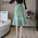 魚尾裙 綠色中長款不規則荷葉邊包臀魚尾裙春款顯瘦高腰防走光半身裙