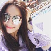 現貨-韓版vintage時尚百搭爆款個性海洋片太陽眼鏡 李小璐同款男女墨鏡彩色復古太陽眼鏡 鏡面反