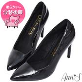 Ann'S俐落美型-質感素面漆皮光感高跟尖頭鞋-黑