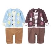 長袖連身衣 假兩件 菱格 男寶寶 小紳士 花童 喜宴 正式場合 爬服 哈衣 Augelute Baby 37025