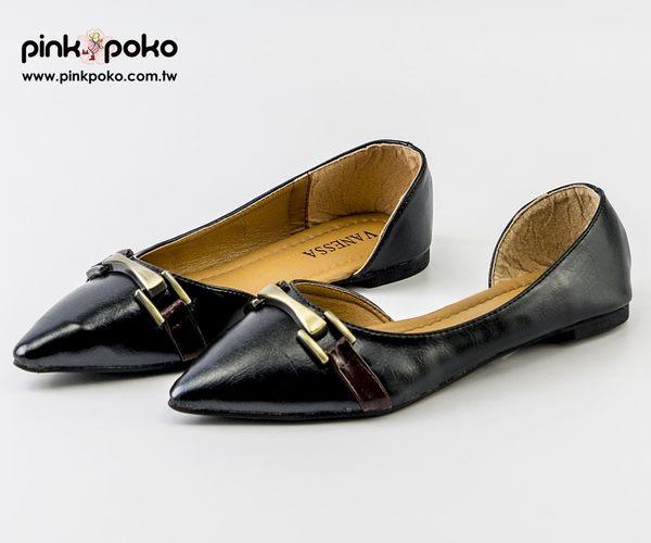 包鞋☆PINKPOKO粉紅波可☆金屬造型漆皮側空尖頭低跟包鞋~2色#1305