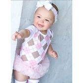 女寶寶粉色格紋紗裙哈衣/蓬蓬裙小禮服