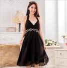 中大尺碼洋裝 L-3XL小禮服韓版雪紡V領縫鑽無袖連衣裙 黑色 #gk9632 @卡樂@